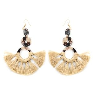 Tassel Fan Beige Earrings